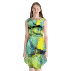Light Blue Yellow Abstract Fractal Sleeveless Chiffon Dress