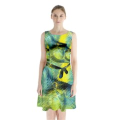 Light Blue Yellow Abstract Fractal Sleeveless Chiffon Waist Tie Dress