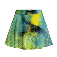 Light Blue Yellow Abstract Fractal Mini Flare Skirt