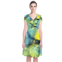 Light Blue Yellow Abstract Fractal Short Sleeve Front Wrap Dress