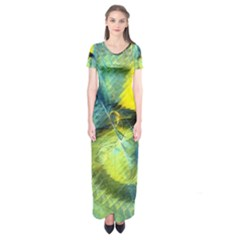 Light Blue Yellow Abstract Fractal Short Sleeve Maxi Dress