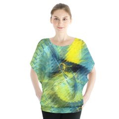 Light Blue Yellow Abstract Fractal Blouse