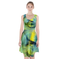 Light Blue Yellow Abstract Fractal Racerback Midi Dress