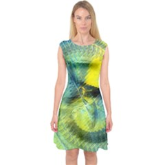 Light Blue Yellow Abstract Fractal Capsleeve Midi Dress