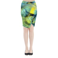 Light Blue Yellow Abstract Fractal Midi Wrap Pencil Skirt