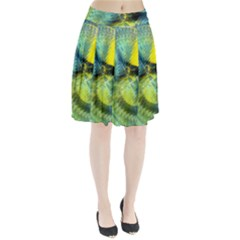 Light Blue Yellow Abstract Fractal Pleated Skirt