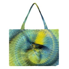 Light Blue Yellow Abstract Fractal Medium Tote Bag