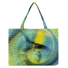 Light Blue Yellow Abstract Fractal Medium Zipper Tote Bag