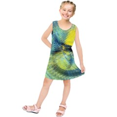 Light Blue Yellow Abstract Fractal Kids  Tunic Dress