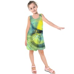Light Blue Yellow Abstract Fractal Kids  Sleeveless Dress