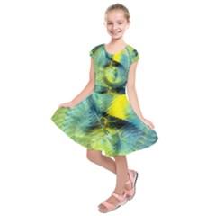 Light Blue Yellow Abstract Fractal Kids  Short Sleeve Dress
