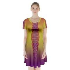 Flower Of Life Vintage Gold Ornaments Red Purple Olive Short Sleeve V Neck Flare Dress