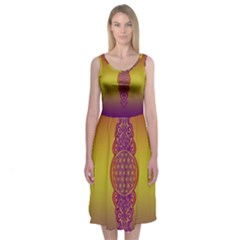 Flower Of Life Vintage Gold Ornaments Red Purple Olive Midi Sleeveless Dress