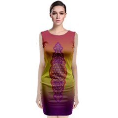 Flower Of Life Vintage Gold Ornaments Red Purple Olive Classic Sleeveless Midi Dress