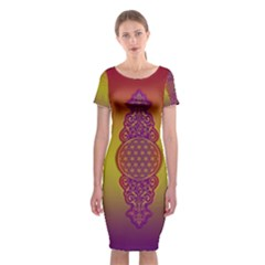Flower Of Life Vintage Gold Ornaments Red Purple Olive Classic Short Sleeve Midi Dress