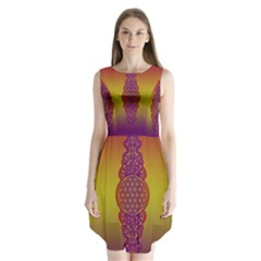 Flower Of Life Vintage Gold Ornaments Red Purple Olive Sleeveless Chiffon Dress