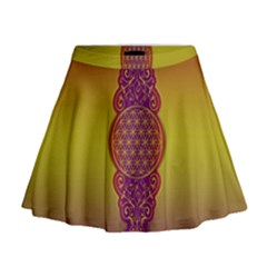 Flower Of Life Vintage Gold Ornaments Red Purple Olive Mini Flare Skirt
