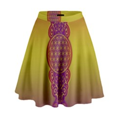 Flower Of Life Vintage Gold Ornaments Red Purple Olive High Waist Skirt