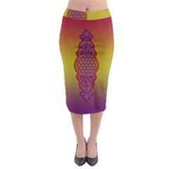 Flower Of Life Vintage Gold Ornaments Red Purple Olive Midi Pencil Skirt