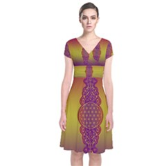 Flower Of Life Vintage Gold Ornaments Red Purple Olive Short Sleeve Front Wrap Dress