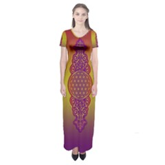 Flower Of Life Vintage Gold Ornaments Red Purple Olive Short Sleeve Maxi Dress