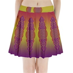 Flower Of Life Vintage Gold Ornaments Red Purple Olive Pleated Mini Skirt
