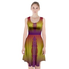 Flower Of Life Vintage Gold Ornaments Red Purple Olive Racerback Midi Dress