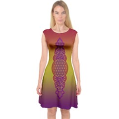 Flower Of Life Vintage Gold Ornaments Red Purple Olive Capsleeve Midi Dress