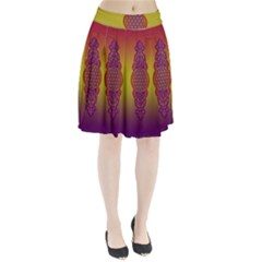 Flower Of Life Vintage Gold Ornaments Red Purple Olive Pleated Skirt