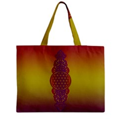 Flower Of Life Vintage Gold Ornaments Red Purple Olive Medium Tote Bag