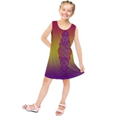 Flower Of Life Vintage Gold Ornaments Red Purple Olive Kids  Tunic Dress