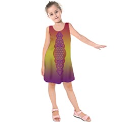 Flower Of Life Vintage Gold Ornaments Red Purple Olive Kids  Sleeveless Dress