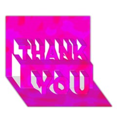 Simple pink THANK YOU 3D Greeting Card (7x5)