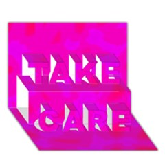 Simple pink TAKE CARE 3D Greeting Card (7x5)