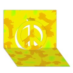 Simple yellow Peace Sign 3D Greeting Card (7x5)