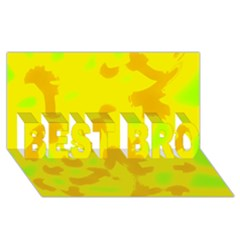 Simple yellow BEST BRO 3D Greeting Card (8x4)