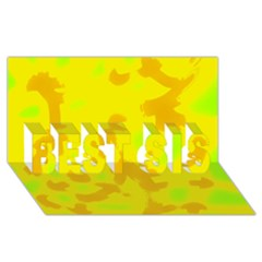Simple yellow BEST SIS 3D Greeting Card (8x4)