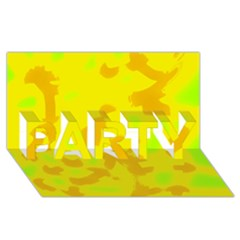 Simple yellow PARTY 3D Greeting Card (8x4)