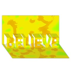 Simple yellow BELIEVE 3D Greeting Card (8x4)