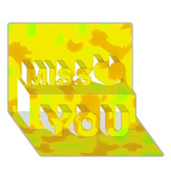 Simple Yellow Miss You 3d Greeting Card (7x5)
