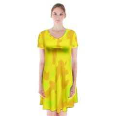 Simple yellow Short Sleeve V-neck Flare Dress
