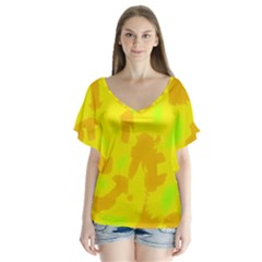 Simple yellow Flutter Sleeve Top