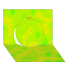 Simple yellow and green Circle 3D Greeting Card (7x5)