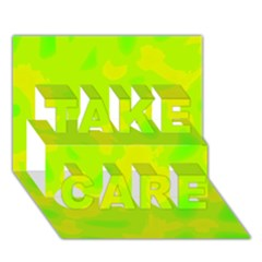 Simple yellow and green TAKE CARE 3D Greeting Card (7x5)