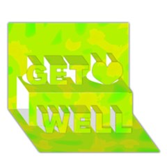 Simple yellow and green Get Well 3D Greeting Card (7x5)