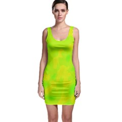 Simple yellow and green Sleeveless Bodycon Dress