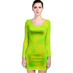 Simple yellow and green Long Sleeve Bodycon Dress