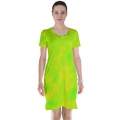 Simple yellow and green Short Sleeve Nightdress