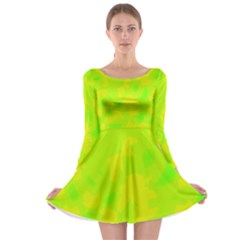 Simple yellow and green Long Sleeve Skater Dress