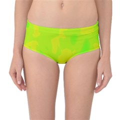 Simple yellow and green Mid-Waist Bikini Bottoms